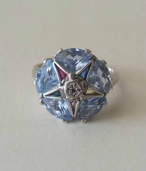 Vintage 10k White Gold Aquamarine Eastern Star By Jthornevintage Eastern Star Star Ring White Gold