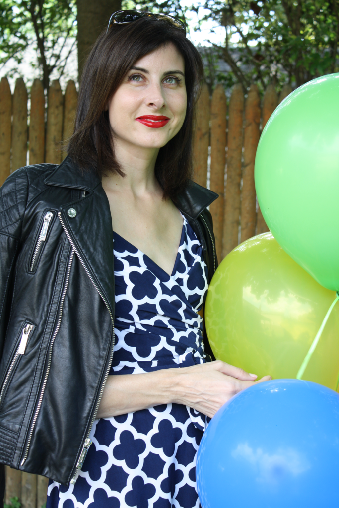 Blogger Two pumps in a purse in our Gala Wrap dress