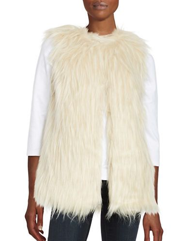 0c39fac49e56 Design Lab Lord & Taylor Long Faux Fur Vest Women's Ivory X-Small ...