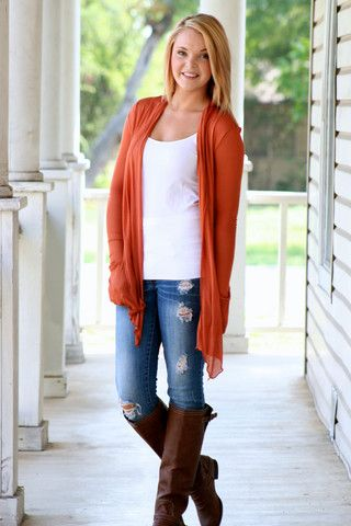 9e10194e6 Back to Basics Cardigan- Burnt Orange - love the color and casual ...