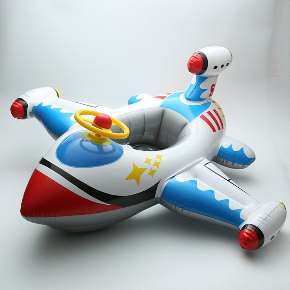 Amyove Inflatable White Plane with Steering Wheel Baby Swimming Accessories Pool Ring Children Laps Swim Seat Float Boat Water Sport