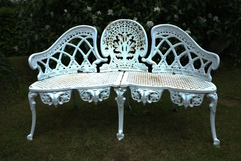 Lovely Original 1960s French Vintage Cast Iron Garden Bench Www