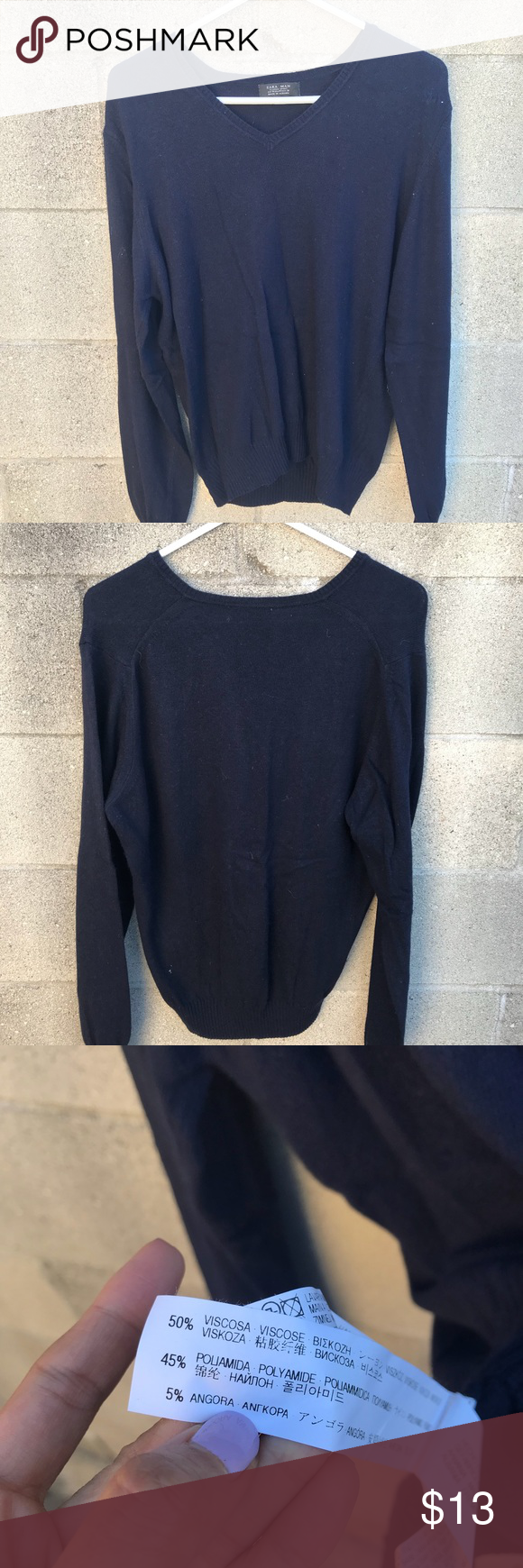 756e573c Zara Men Sweater Zara Men Sweater Size m Navy blue No stains or rips Length  24 Armpit to armpit 19 Shoulder to shoulder 16 Arm length from shoulder 31  D20 ...