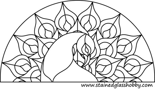 free printable peackoxk mosaic art coloring pages | Free Glass Painting Pattern Peacock | Stained glass ...
