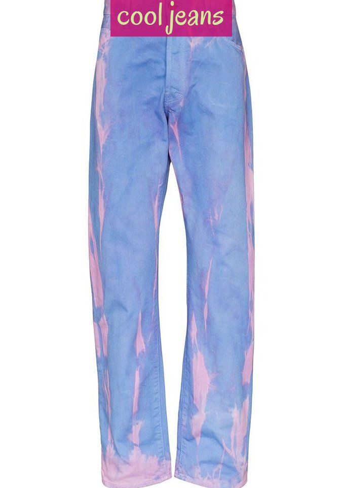 Pink And Blue Cotton Mlp Lilly Dyed Jeans From Aries