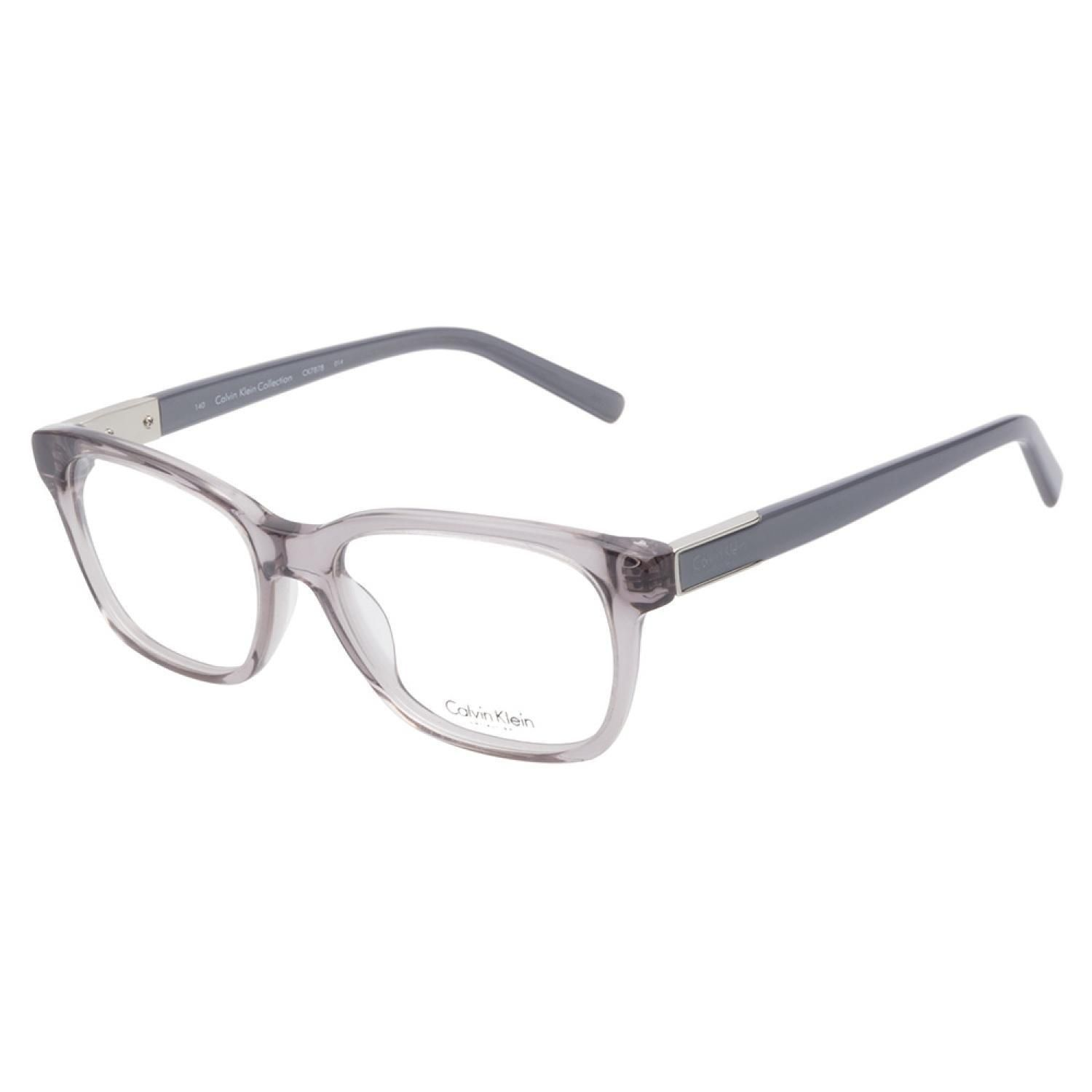 01dc9dd2fd79 Calvin Klein CK7878 014 Grey eyeglasses are crisp and clear. This  transparent frame comes in hazy grey acetate in a demure style.