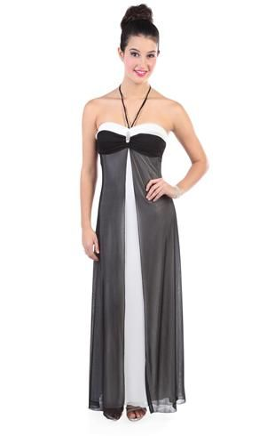 a52dc2eafd3 two tone halter long prom dress with flyaway front accent