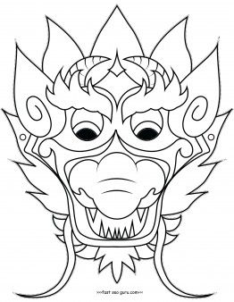 Free Online Print Out Chinese Dragon Mask Coloring Pages Crafts For Kidsfree Activities Worksheets Childrens And Adults Cutout Template