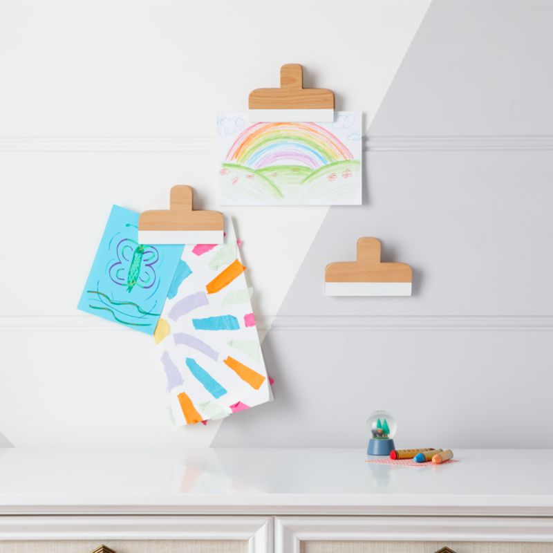 Shop White Wooden Wall Art Clips Set Of 3 Our Set Of White Wooden Wall Art Clips Will Do More Than Just Hold Y Art Wall Kids Kids Wall Decor Crate