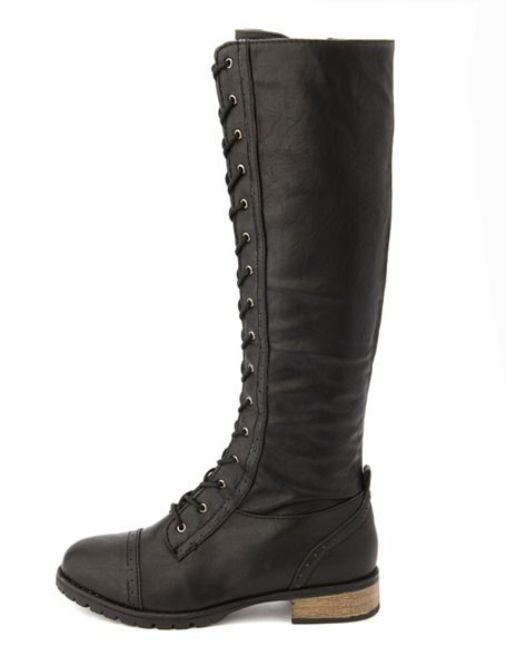 e38a8131f45b5b Knee-High Lace-Up Riding Boot  Charlotte Russe