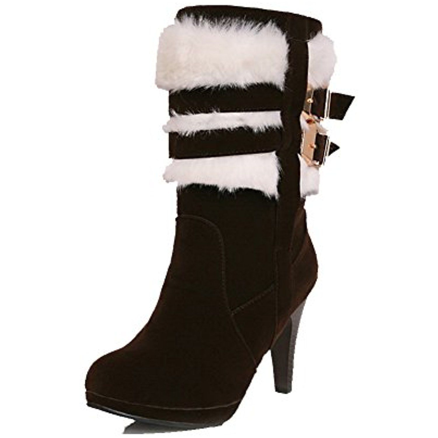 Women's Pull-On High-Heels Imitated Suede Solid Low-Top Boots