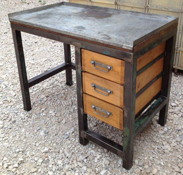 Etabli bureau metal 3 tiroirs bois 1950 patine relooking meubles bois pinterest bureau - Meuble bois patine ...