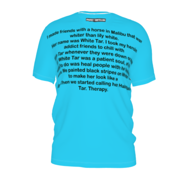 #Imadefriendswitha… by #FrankieT, #citrusreport, #Tshirt, #blue, #therapy, #heroin, #addict, #healing, #encourage, #words, #text, #friends, #@The Citrus Report