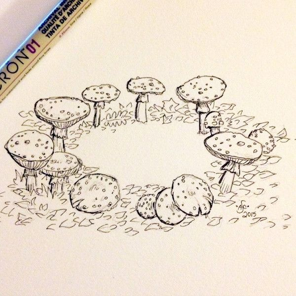 Original Ink Drawing Mushroom Fairy Ring 5x7 inches hand drawn ink... ($24) ❤ liked on Polyvore featuring home, home decor, wall art, hand drawing, fairy home decor, fairy wall art, hand drawn illustration and ink drawing
