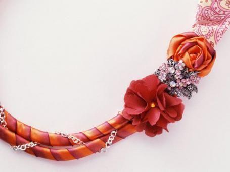 ribbon necklace tutorial must try! find #diyjewelrysupplies at www.eCrafty.com