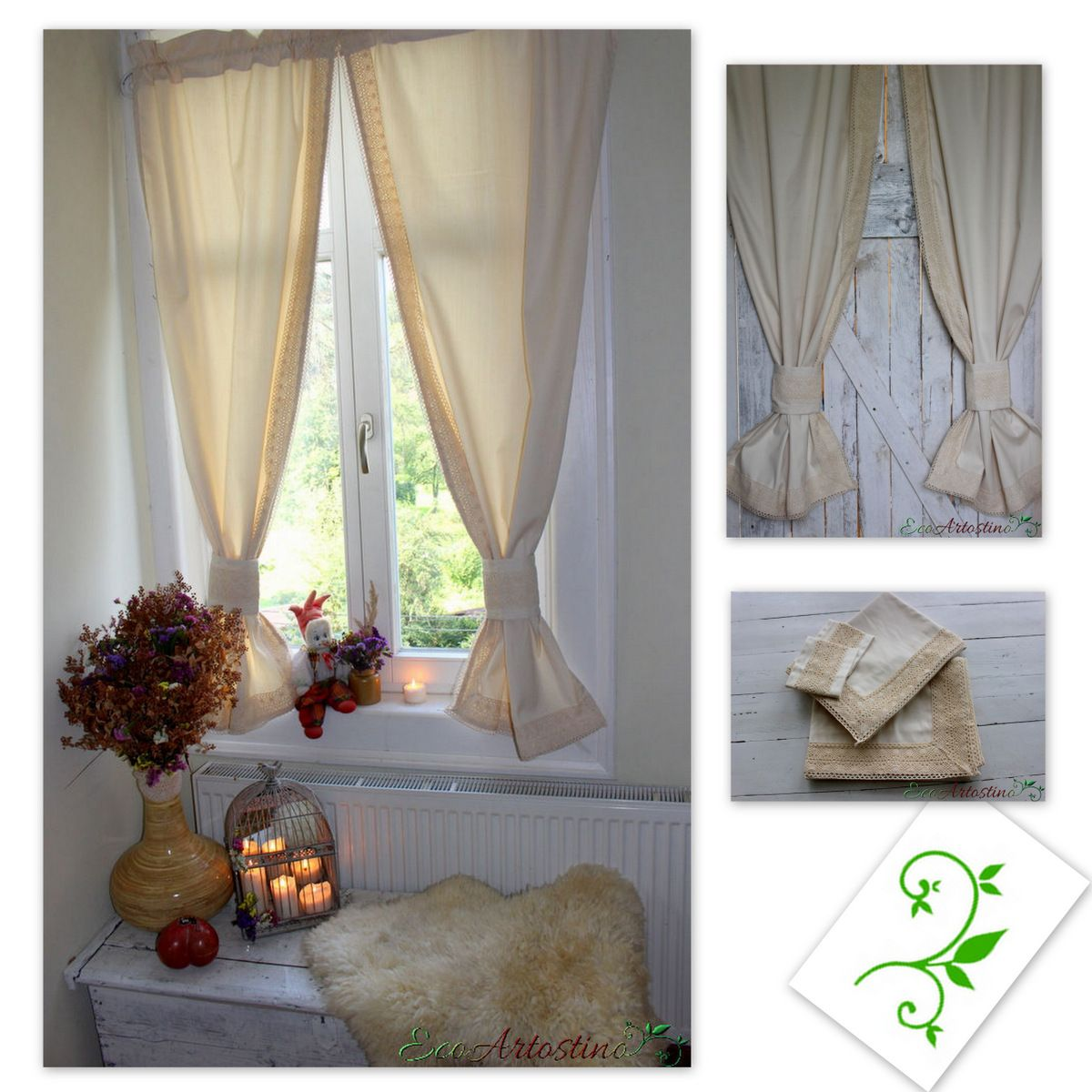 Oryginal natural ecru curtains. Decorated with cotton lace. Beautiful window decoration. Perfect for rustic, vintage, chabby chic and cottage  interior. Made of natural cotton blend fabric with linen and elana