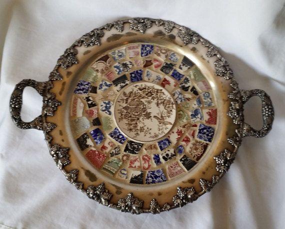 Large Decorative Serving Trays Enchanting Large Decorative Ooak Repurposed Broken Plate Mosaic Tile Serving Review