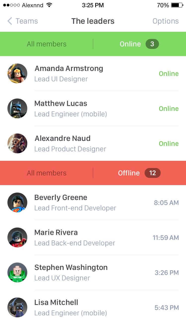 Members list exploration   iOS Apps   Mobile ui design, Interface