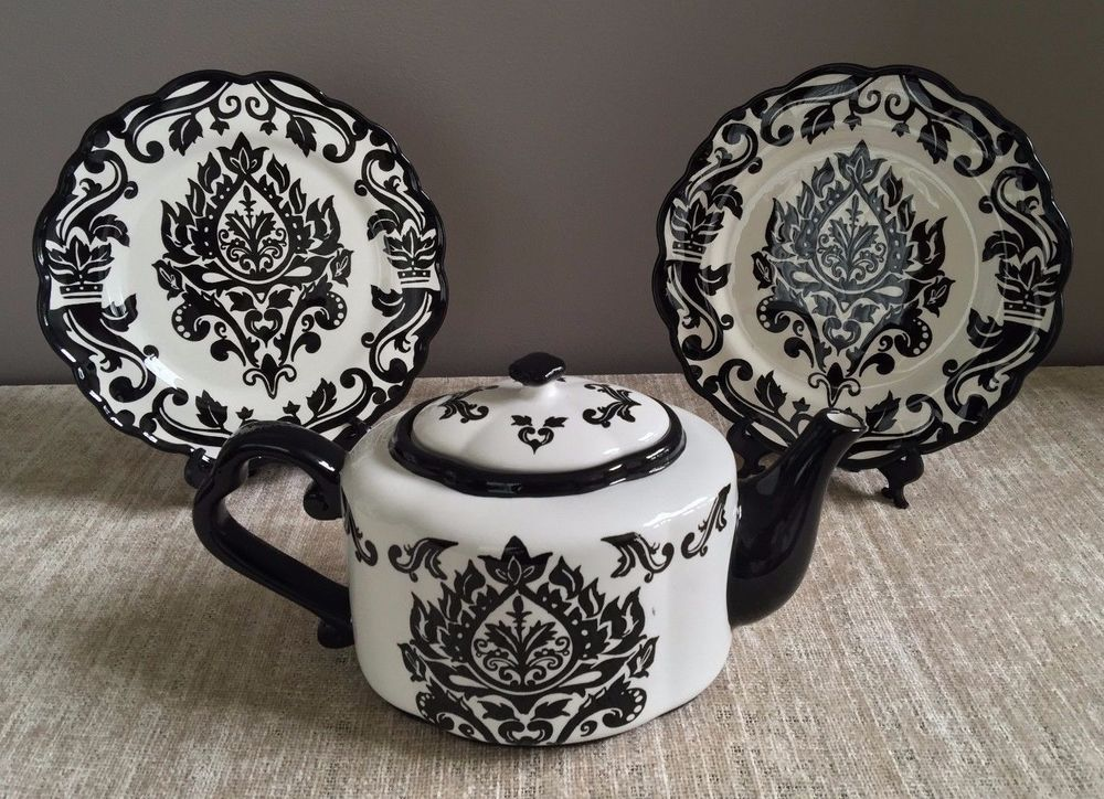 222 Fifth Damask Black White Teapot w Two 9  Plates & 47 best ~Gothic Dishes and other Kitchen Wishes~ images on Pinterest ...