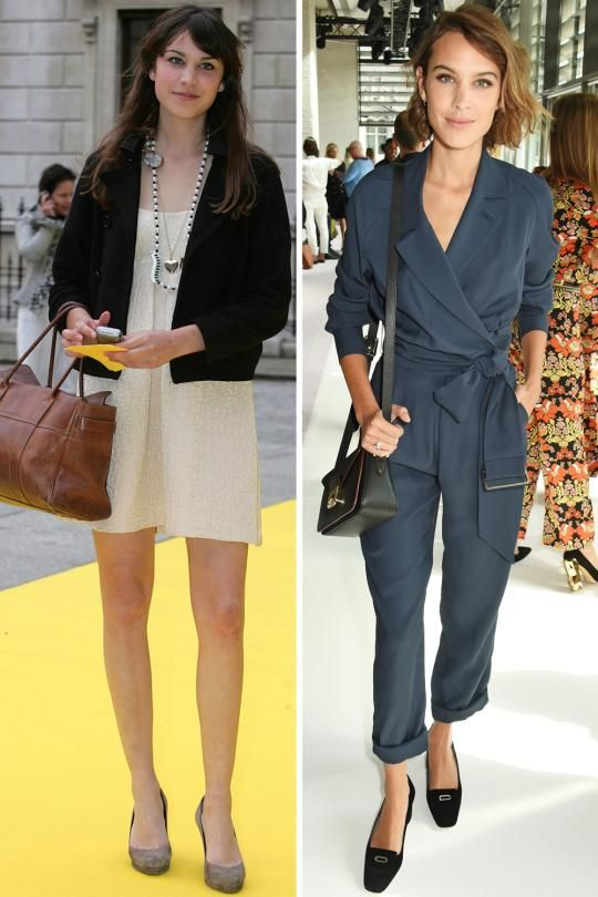 Alexa Chung young with long hair, then more matured with short hair