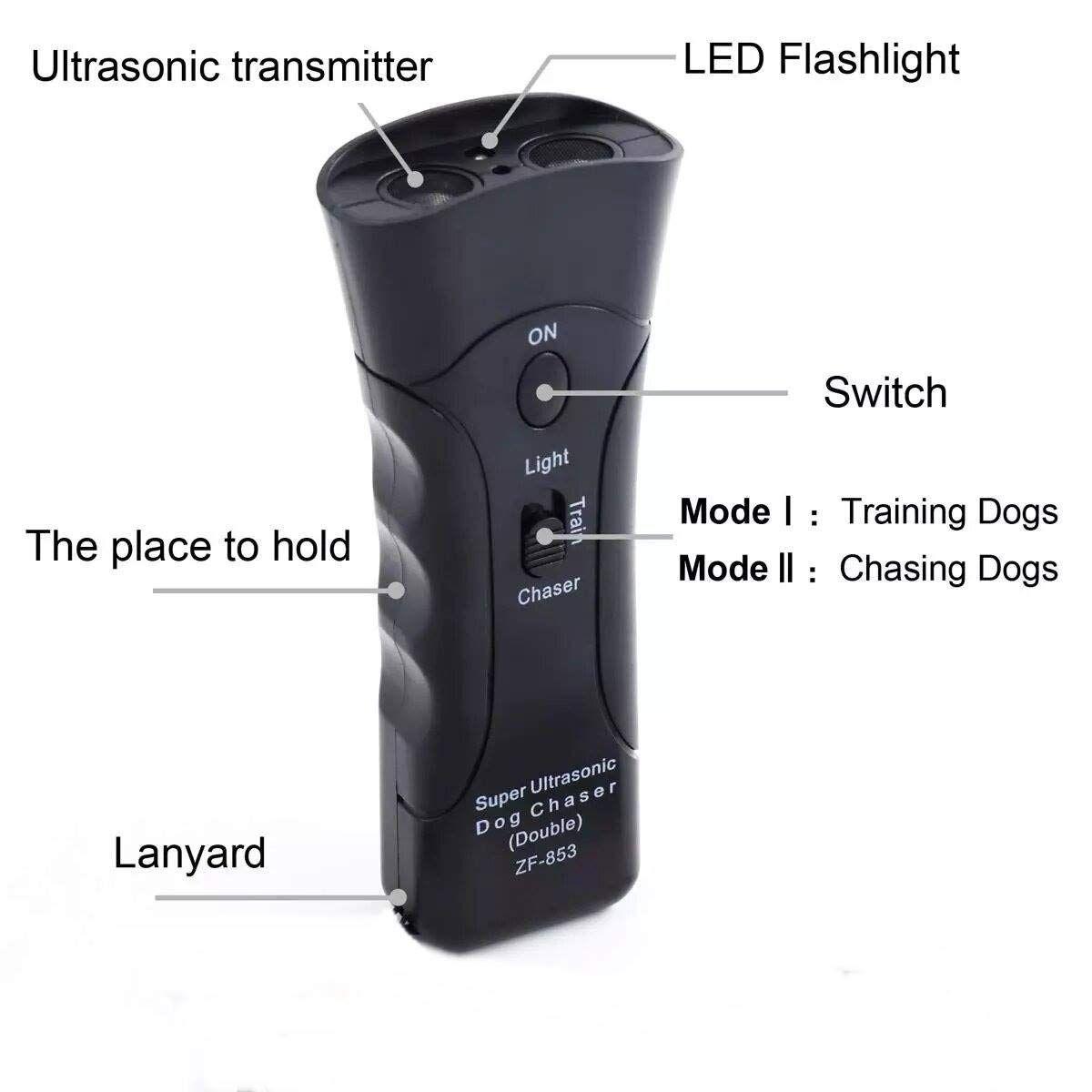 Zadyx Anti Barking Handheld 3 In 1 Pet Led Ultrasonic Dog Trainer