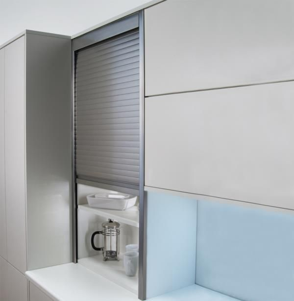 Black Kitchen Unit Doors: German Tambour Door Kit Stainless Effect 1400mm High 18mm