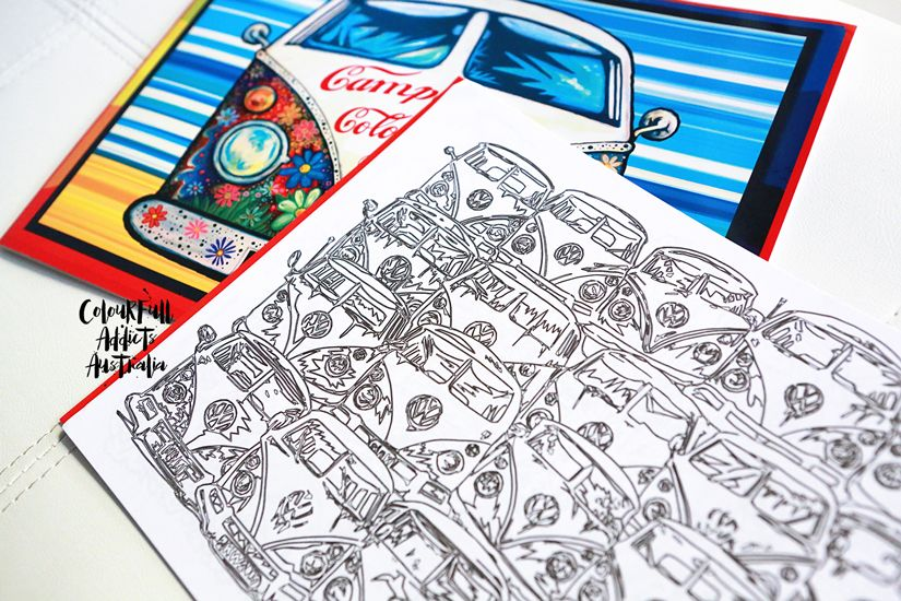 Aircooled Campervan Colouring Book Colour Full Addicts Australia Adult In Volkswagen Beetles