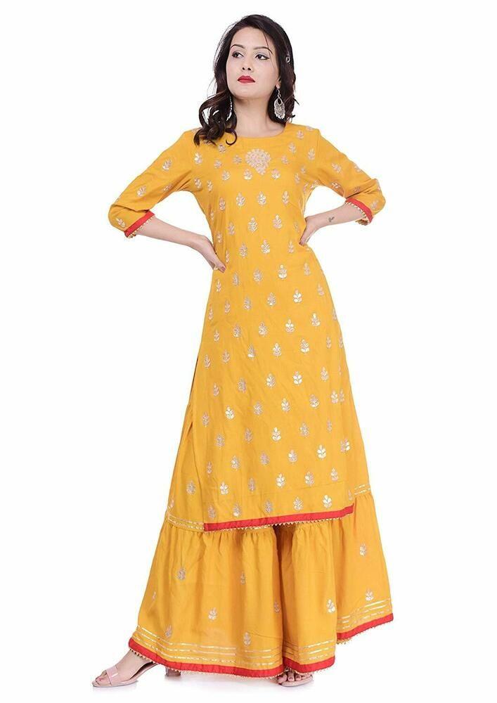 Yellow Indian Pakistani Anarkali Kurta Kurti Ethnic Dress Women Tunic
