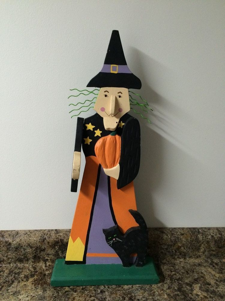 Halloween Decoration Wooden Witch Black Cat Pumpkin Statue - halloween statues