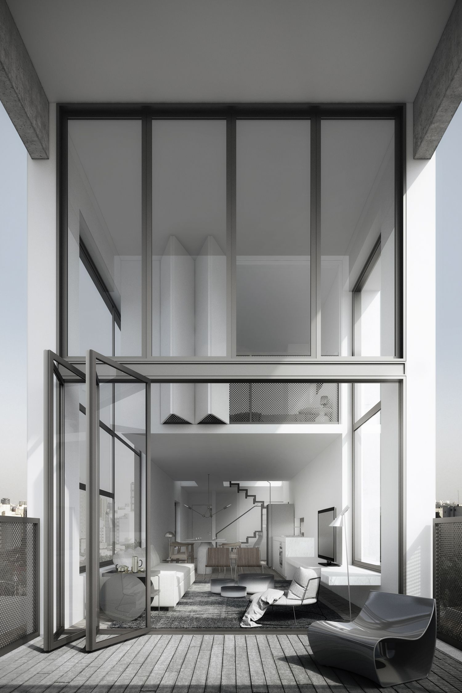 Air madalena sao paulo tower upper floor loft with view of retractable wall image courtesy of triptyque