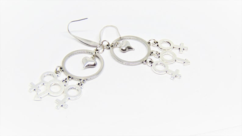 Polyamory Earrings, Male female symbol dangle charms