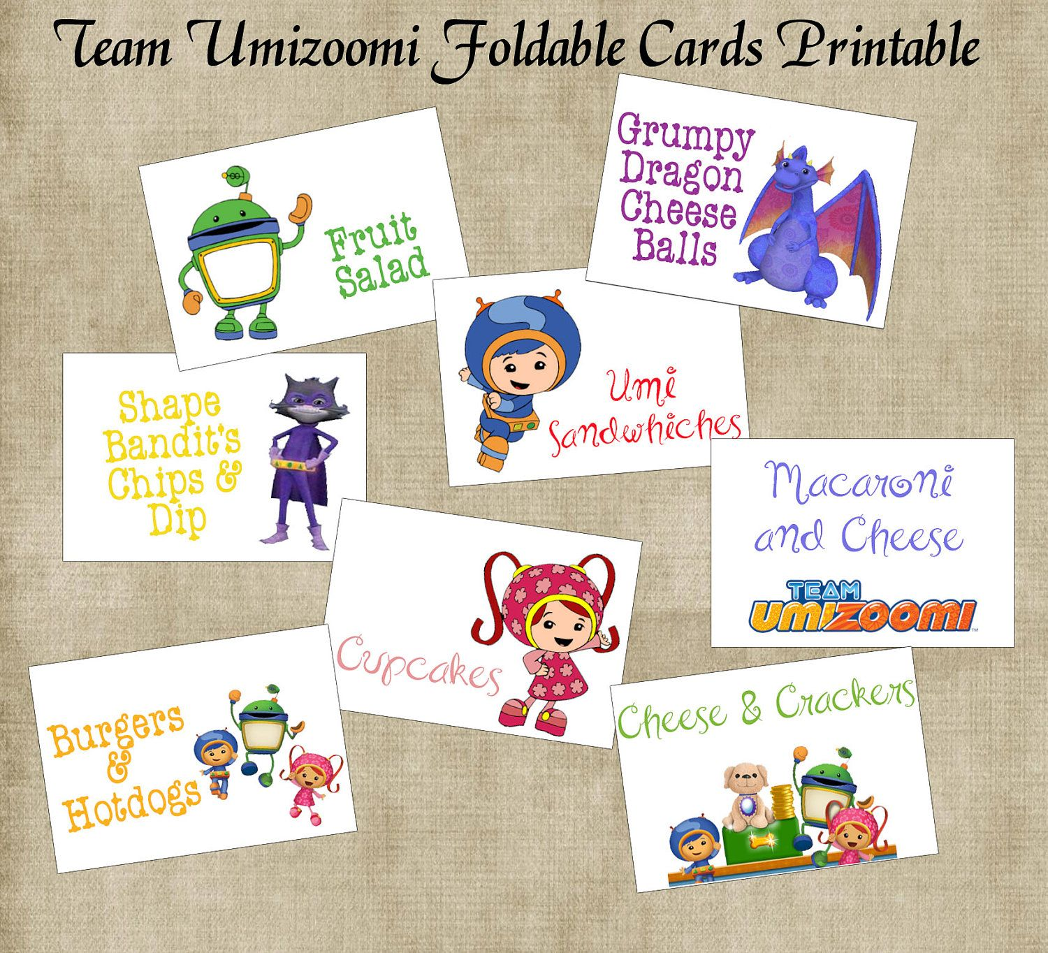 Team Umizoomi Birthday Party Foldable Cards Printables Set of 8