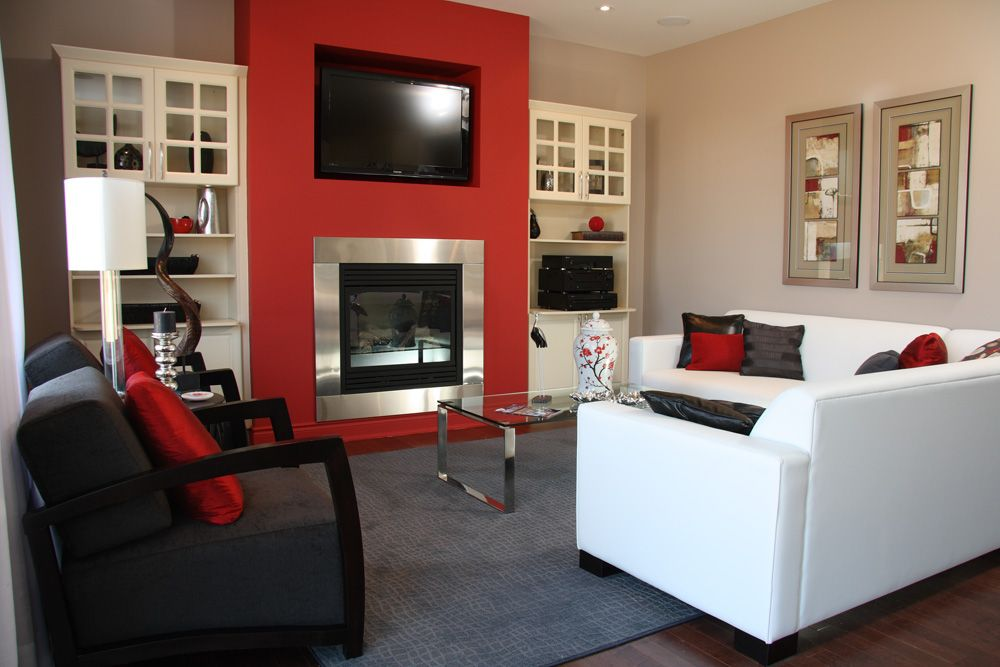Pine Ridge Homes By Desantis Red Accent Wall Bookshelves Built In Teal Living Room Decor #red #accent #walls #in #living #room