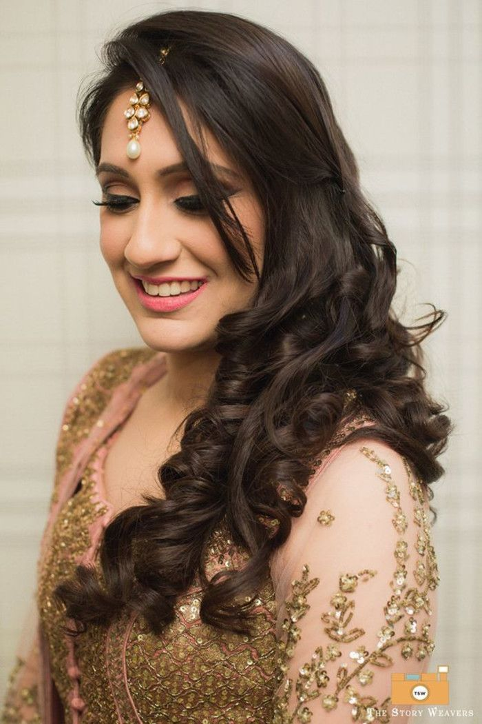 Image Result For Bridal Hairstyles For Long Hair On Lehenga Choli