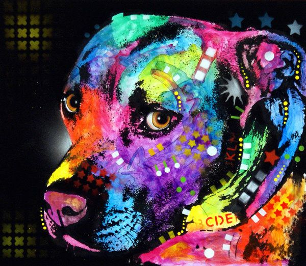 Cópia do pitbull que caracteriza a pintura Gratitude Pitbull pelo decano Russo