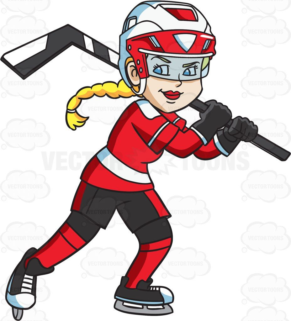 A Happy Female Hockey Player Vector Graphics Vectortoons Com Hockey Girls Hockey Girls Outfits Hockey Drawing