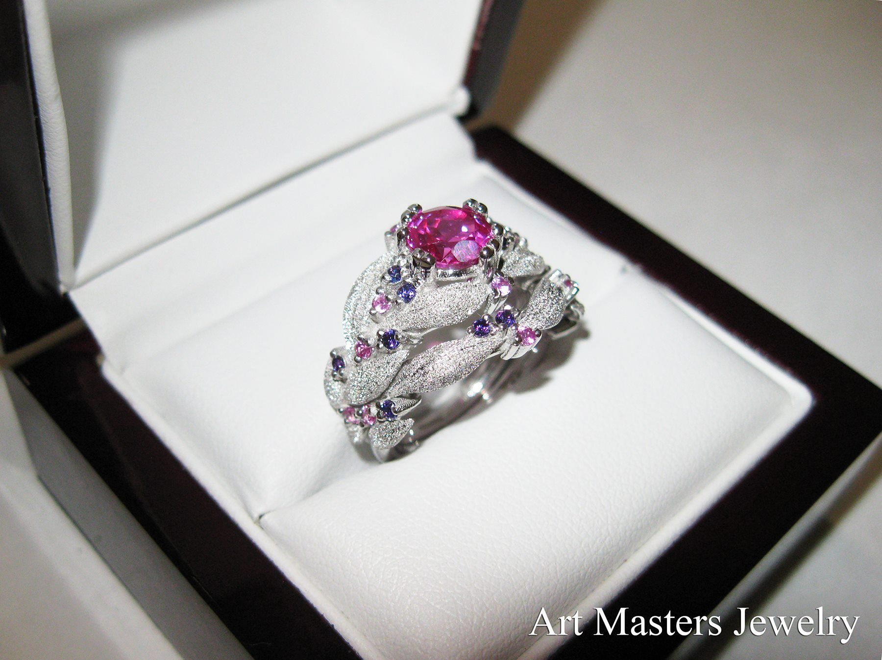 e274da40553 Nature Classic 14K White Gold 1.0 Ct Pink and Light Pink Sapphire Amethyst Leaf  Vine Engagement Ring Wedding Band Set R340SS-14KWGAMLPSPS