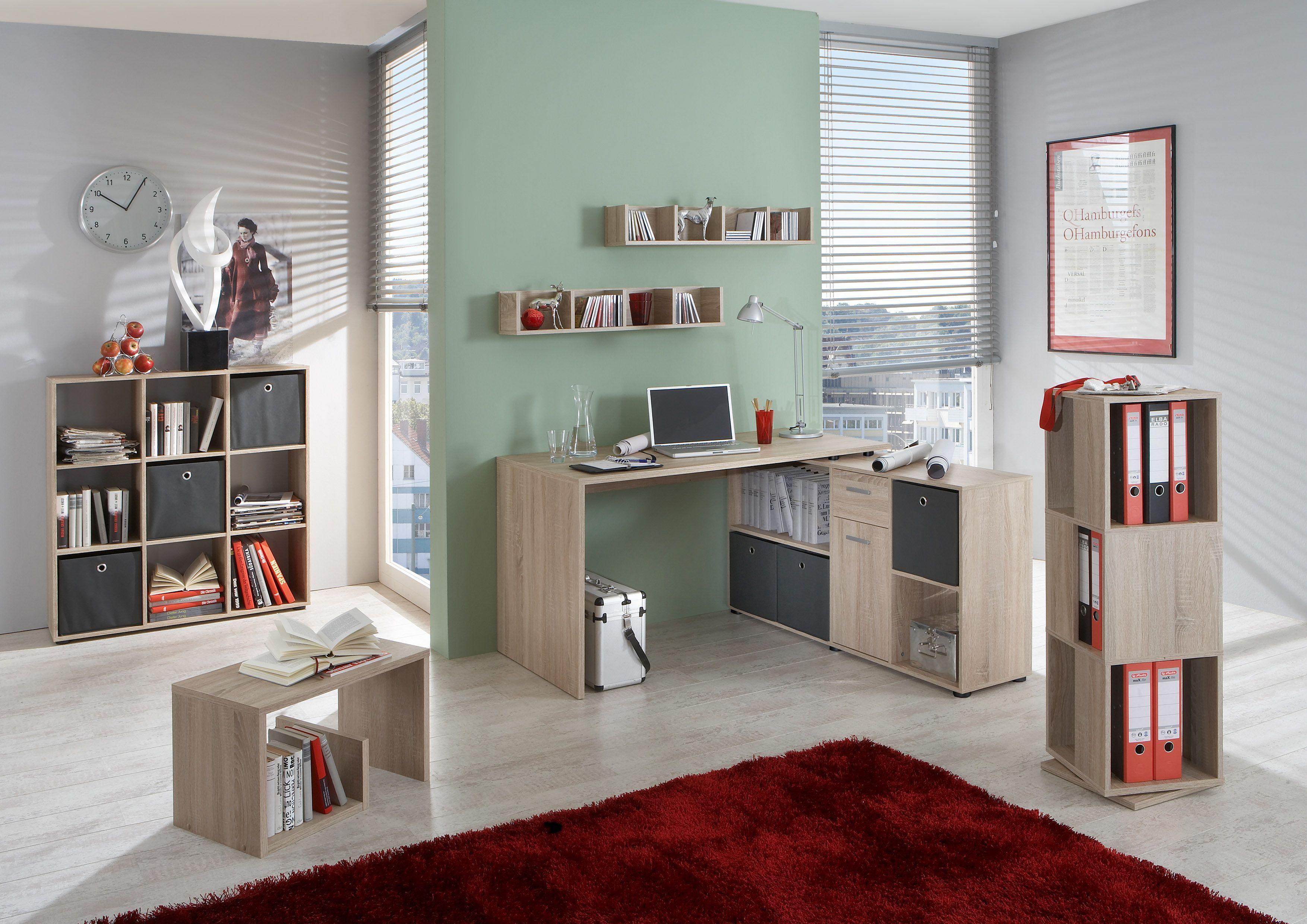 Büromöbel Set Eiche Nachbildung Mit Schreibtisch Und Regalen Woody ...