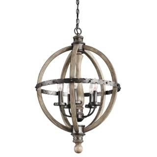 Check out the Kichler Lighting 43324DAG Evan 5 Light Chandelier in Distressed Antique Gray with Furniture-Style Shape
