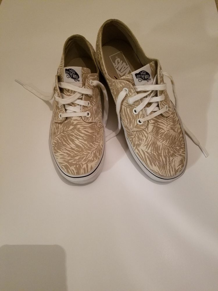 07584d280db2 Vans Shoes Beige and White Fern Print - Mens Size 9 - Womens 10.5  fashion   clothing  shoes  accessories  unisexclothingshoesaccs  unisexadultshoes  (ebay ...