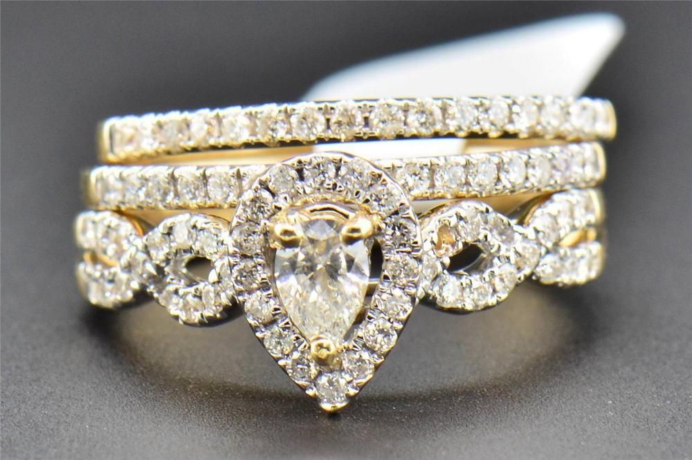 Pear Diamond Bridal Set 3 Piece Engagement Ring Infinity Band 14K Yellow Gold in Jewelry & Watches, Engagement & Wedding, Engagement/Wedding Ring Sets | eBay