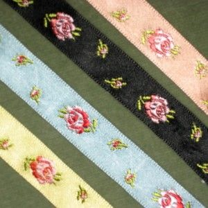 Antique French Satin Rose Motifs Ribbons
