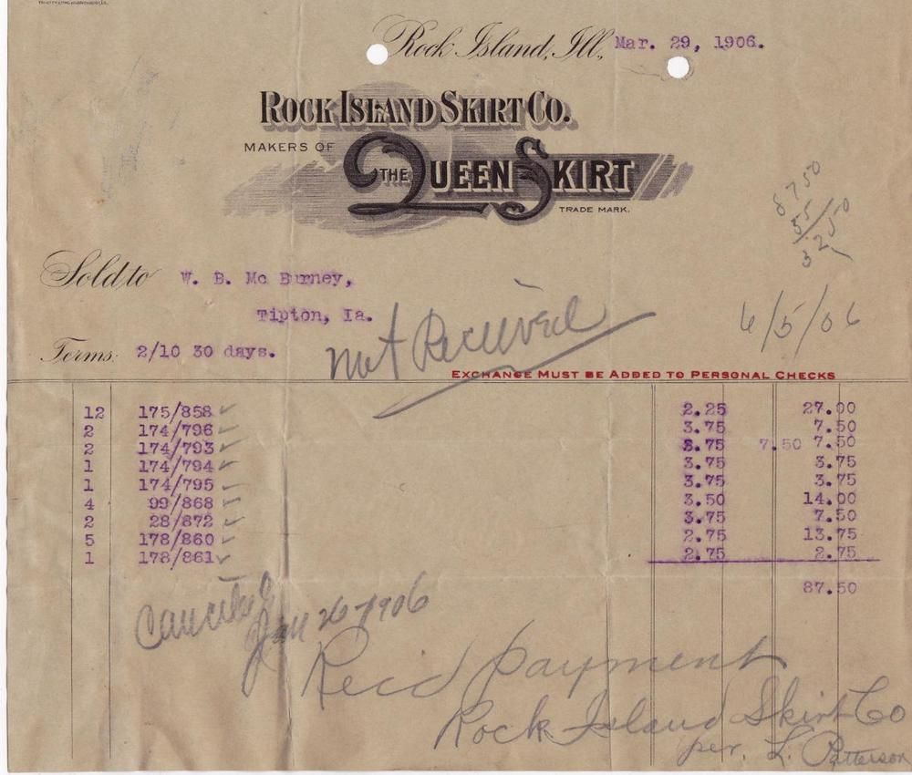 1906 invoice rock island skirt co rock island il makers of the queen skirt