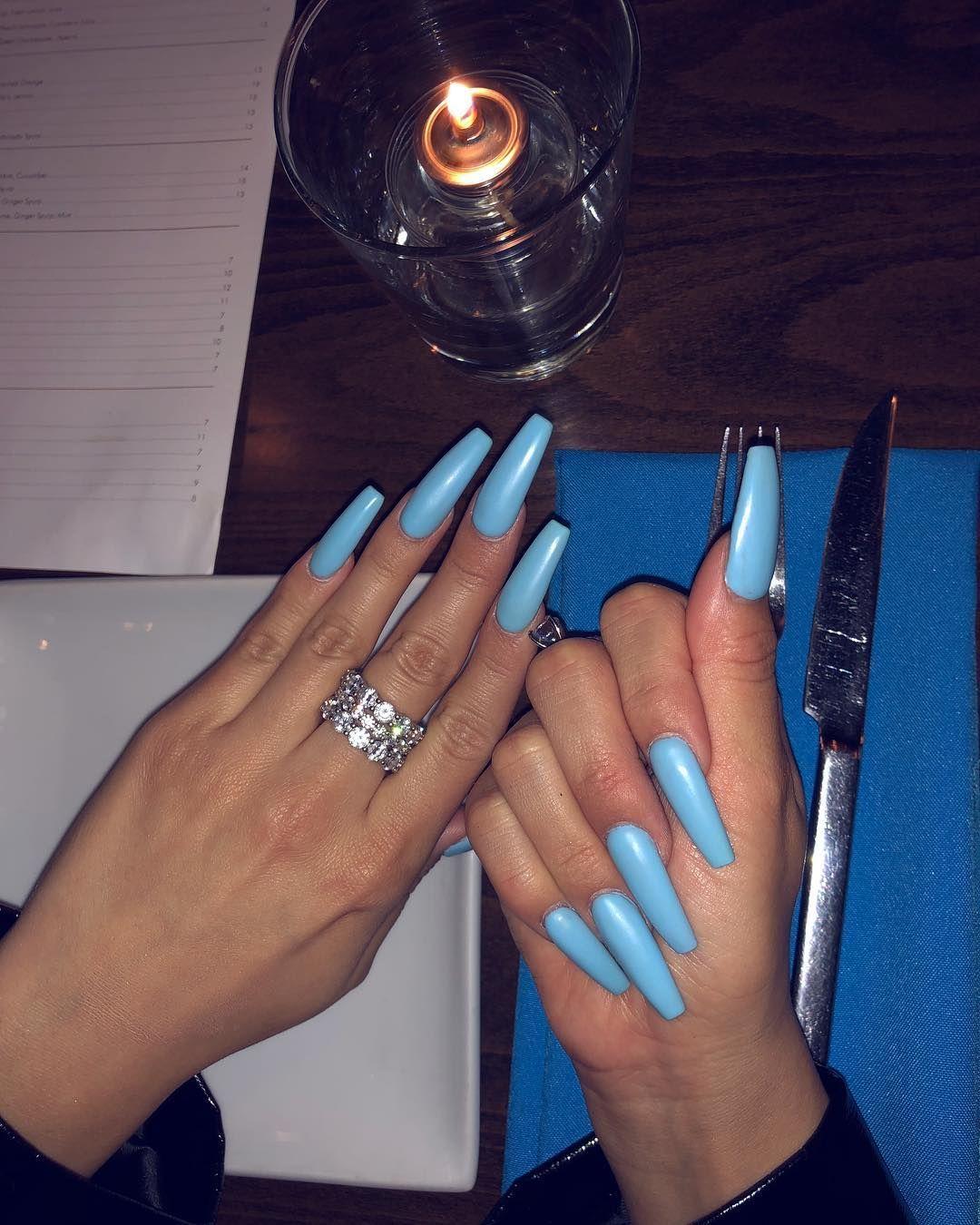 Karla J On Instagram Baby Blue Baby Blue Acrylic Nails Blue Acrylic Nails Baby Blue Nails
