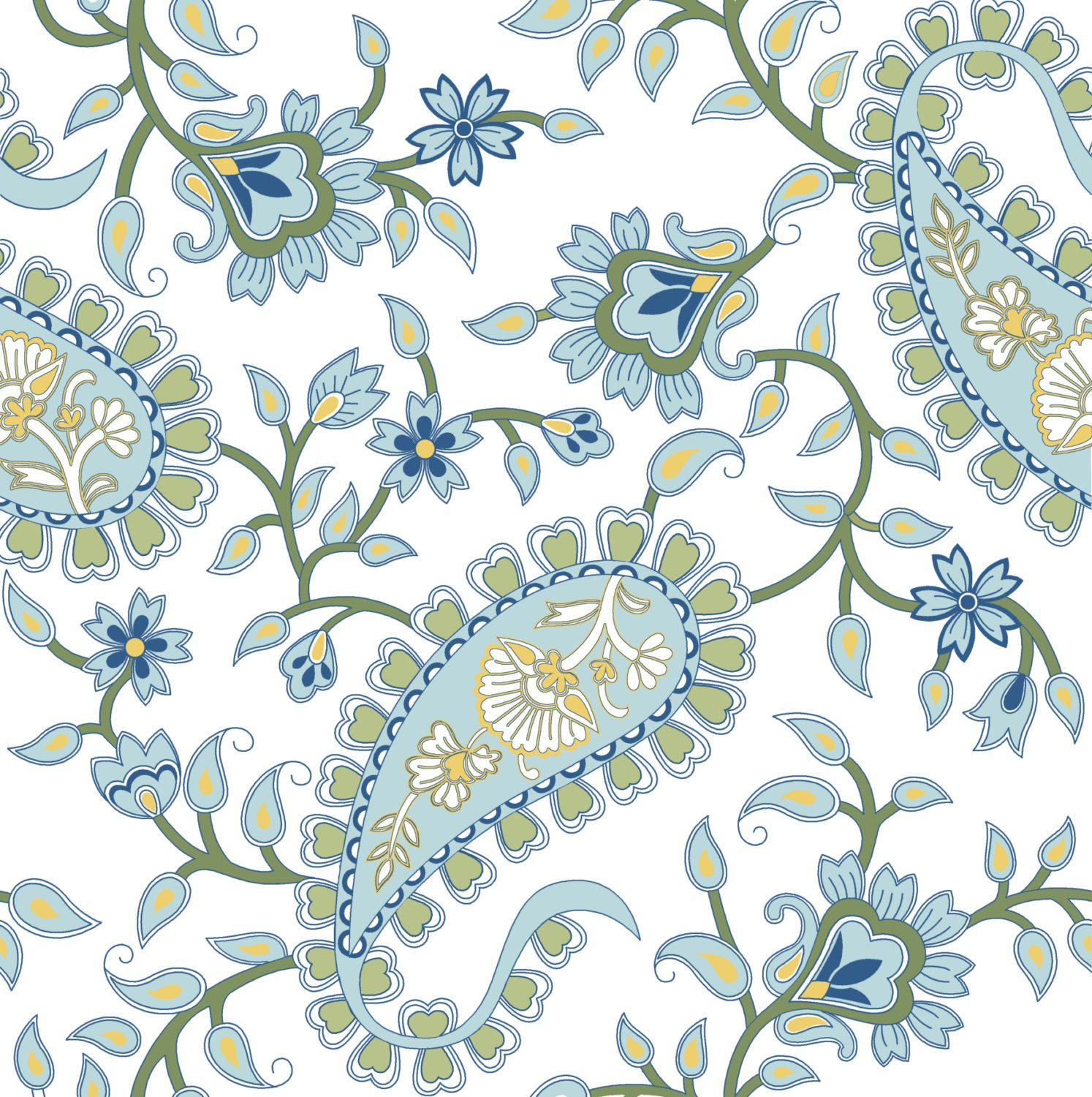 Olive Green and Blue Paisley Pattern от
