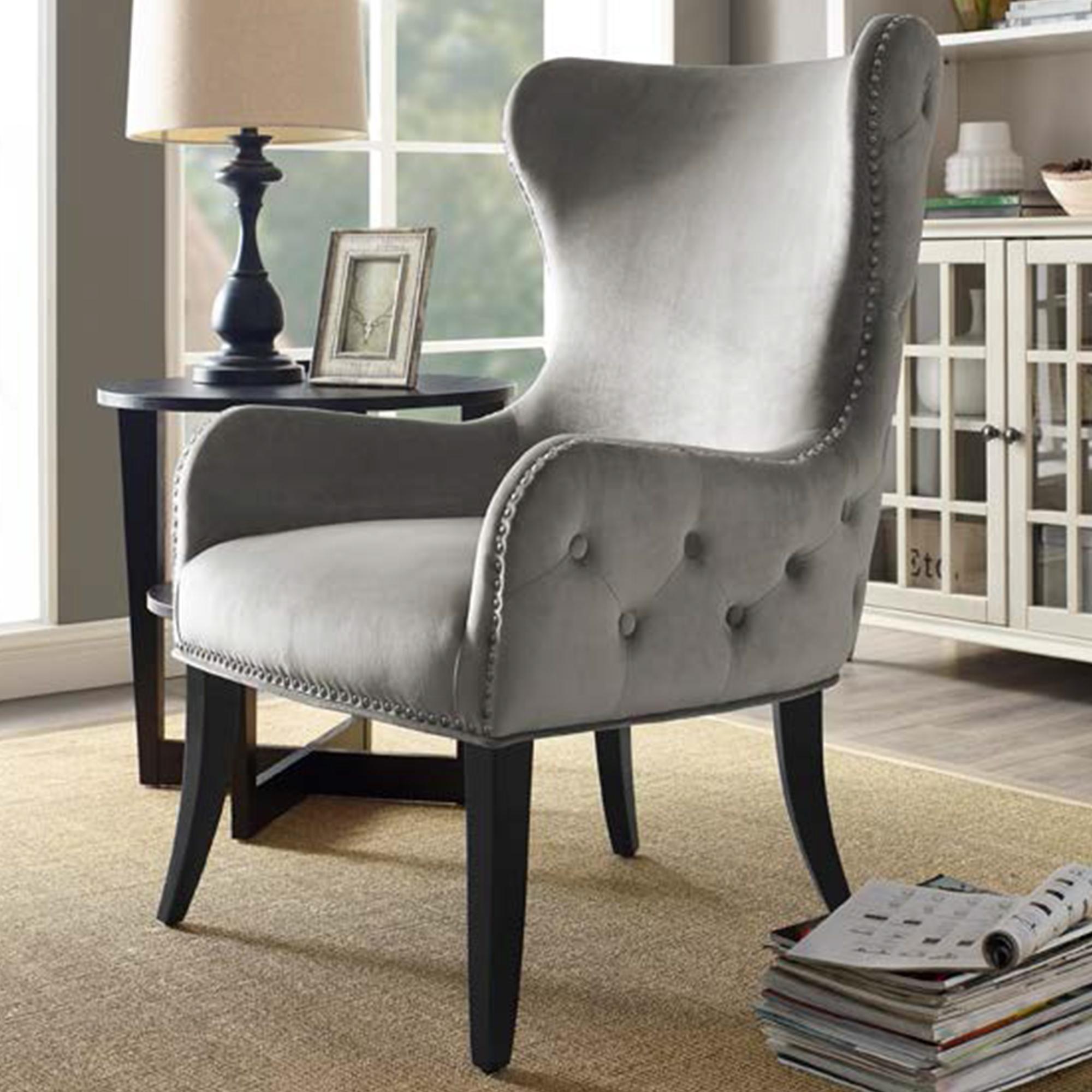 Linden Boulevard Sevilla Round Back Chair In Gray Velvet