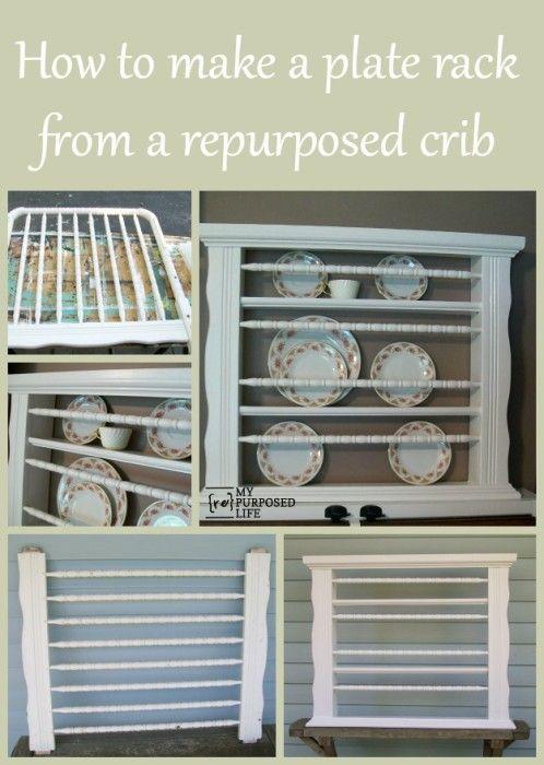 Repurposed Crib into Plate Rack & Repurposed Crib into Plate Rack | Plate racks Repurposed and ...
