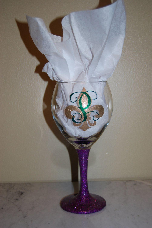 0561ecd466b Mardi Gras Wine Glass