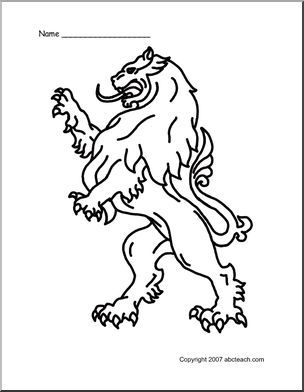 Coloring Page Medieval Lion Abcteach Coloring Pages