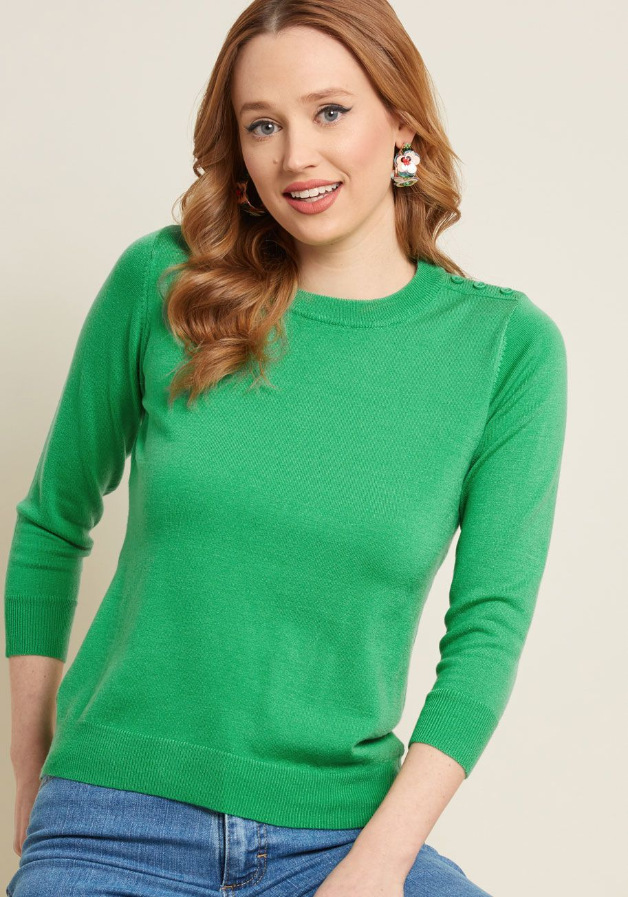 272987c730d Show your style smarts in this bright green sweater! With buttons at the  left shoulder